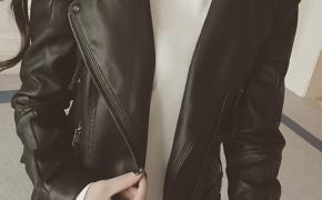 淘宝集运转运到新西兰短款皮衣 多口袋 大翻领 显瘦 纯色