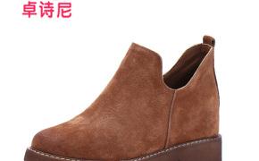 淘宝集运转运到荷兰卓诗尼 靴子 方跟短靴 圆头低跟 休闲 春季 新款
