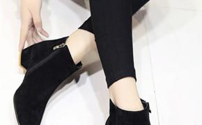 淘宝集运转运到荷兰靴子 及踝靴 粗跟 圆头 方头 黑色 百搭 纯色 韩版