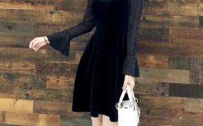 淘宝集运转运到日本连衣裙 赫本小黑裙 荷叶袖 胖 性感 加肥加大码 显瘦 丝绒 新款 秋季