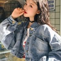 华人代购转运牛仔外套 做旧 磨破 短款 蝙蝠袖 宽松 百搭 复古 秋冬季 新款 韩版