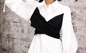 淘宝集运转运到韩国雪纺衬衫 心机 长袖 设计感 拼接 中长款 女潮 收腰显瘦 撞色 秋季 新款 韩版
