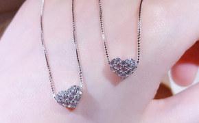 淘宝集运转运到英国锁骨链 纯银 纯银 心形 爱心 桃心 时尚 女生 迷你 新款 韩版