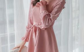 淘宝集运转运到日本大摆连衣裙 收腰显瘦 气质 拼接 泡泡袖 针织 蝴蝶结 新款 韩版