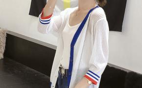 淘宝集运转运到荷兰针织衫 针织开衫 七分袖 条纹 宽松 薄款 甜美 单排扣 新款 韩版