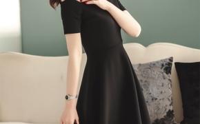 淘宝集运转运到新西兰连衣裙 小黑裙 赫本风 露肩 一字领 打底 波浪 复古 春夏 新款
