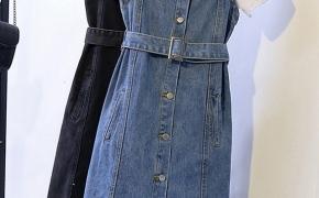 淘宝集运转运到韩国百搭连衣裙 无袖 中长款 单排扣 不规则 复古 韩版
