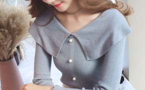 淘宝集运转运到韩国针织衫 修身显瘦 甜美 学院风 娃娃领 新款