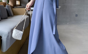 淘宝集运转运到韩国雪纺一片式系带裹身裙度假风百搭A字裙显瘦不规则中长裙半身长裙