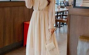 淘宝集运转运到美国早春新款韩版甜美长袖中长款网纱蕾丝a字裙收腰显瘦连衣裙女