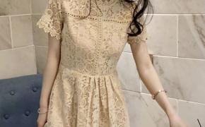 淘宝集运转运到西班牙2019夏季新款韩版修身显瘦名媛气质蕾丝镂空短袖小清新连衣裙