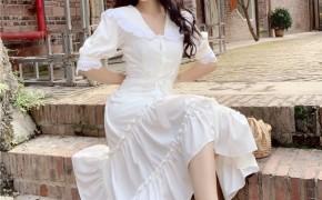 淘宝集运转运到荷兰2019夏季新款复古蕾丝边中长款裙子收腰娃娃领短袖A字连衣裙女装