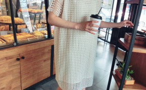 淘宝集运转运到澳大利亚2019夏新款女装气质中长直筒显瘦波点chic裙子镂空水溶蕾丝连衣裙