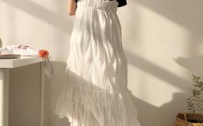 淘宝集运转运到荷兰2019新款韩版chic复古裙高腰白色背带裙夏季高腰长裙女连衣裙长款
