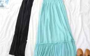 淘宝集运转运到德国天使女装夏季新款高腰显瘦荷叶摆百搭背带半身休闲中长裙50196