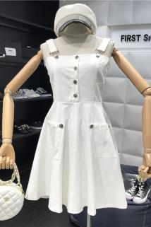 邮多多淘宝集运转运夏季2019新款时尚排扣修身显瘦抹胸吊带裙高腰口袋A字背带连衣裙