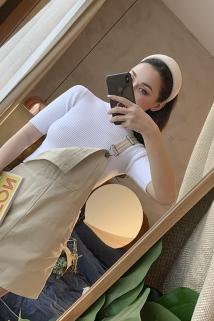 邮多多淘宝集运转运2019春夏新款 复古少女 浅米色显瘦背带裙