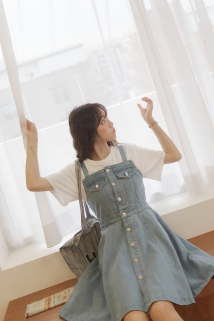 邮多多淘宝集运转运谜乐家 吊带连衣裙女春夏2019新款法式复古高腰牛仔裙背带裙子