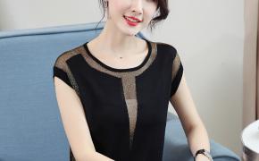 淘宝集运转运到加拿大闪光丝打底衫女薄款网纱洋气冰丝针织衫短袖大码小衫遮肚显瘦减龄