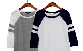 淘宝集运转运到日本女生休闲上衣2019夏季新款圆领套头时尚拼接色七分袖百搭学生T恤