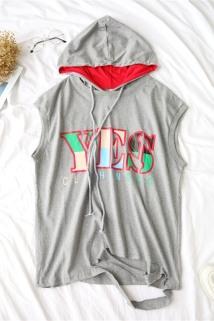 邮多多淘宝集运转运天使女装夏季新款无袖套头带帽印花字母潮版时尚卫衣39552