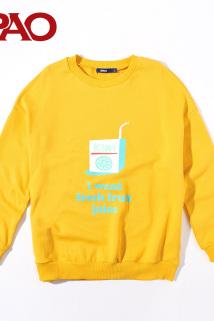 邮多多淘宝集运转运SPAO2018春季新款卫衣女果汁系列印花圆领卫衣SPMW822S02