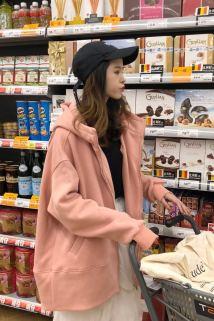 邮多多淘宝集运转运网红外套女冬学生森系街拍款学院风个性可爱带动物耳朵的帽子卫衣