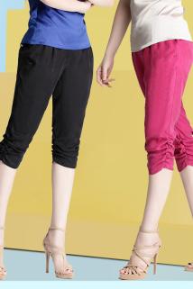 邮多多淘宝集运转运2019夏重磅铜氨丝真丝女裤显瘦宽松大码松紧腰七分裤哈伦裤休闲裤