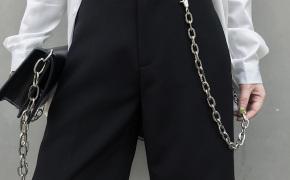 淘宝集运转运到日本EVERDANA港风简约西装黑色直筒阔腿百搭中裤男女情侣