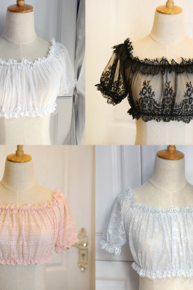 马来西亚国内快递到蕾丝内搭女甜美短袖弹性精致刺绣一字领镂空蕾丝衫上衣日系泡泡袖时效