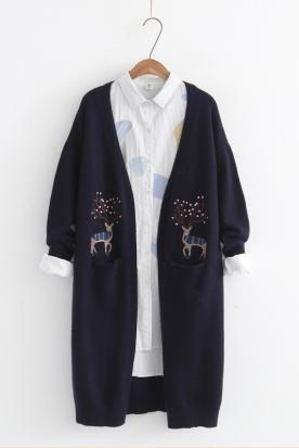 挪威国内快递到2018秋季新款女装口袋梅花鹿刺绣长袖针织衫中长款显瘦开衫外套女时效