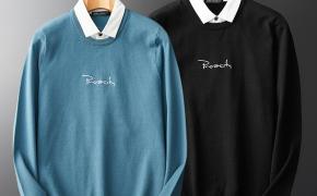淘宝集运转运到日本毛衣男ins 港风针织衫线衣宽松拼接衬衫领假两件毛衫天青蓝秋薄款