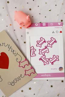 邮多多淘宝集运转运NUNNUN推荐少女心粉色回形针书签创意可爱清新小猪造型宠萌小礼物