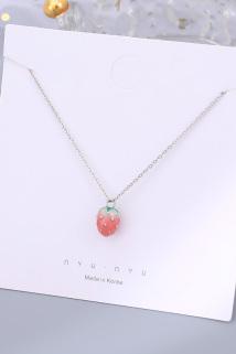 邮多多淘宝集运转运S925纯银小草莓项链女韩版简约小众设计锁骨链吊坠少女心学生礼物