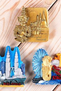 邮多多淘宝集运转运世界旅游纪念品特色冰箱贴 马来西亚 新加坡 泰国老外出国小礼物