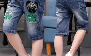 淘宝集运转运到韩国男童牛仔中裤短裤夏装薄款儿童裤子男孩七分裤五分裤马裤宽松童装