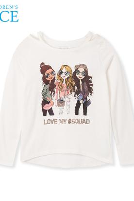 美国国内快递到美国绮童堡女童长袖t恤2019年春季新款儿童女中大童印花上衣时效