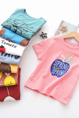 美国国内快递到女童短袖T恤儿童夏装2019新款女宝宝纯棉打底衫中小童洋气短袖潮时效