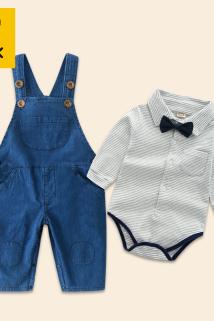 邮多多淘宝集运转运童装男宝宝0-1-3岁长袖牛仔背带裤套装 帅气时尚秋季婴儿纯棉衣服