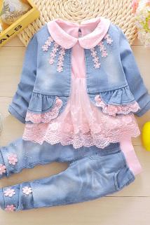 邮多多淘宝集运转运女童春装女宝宝1婴儿童装4长袖衣服装2小女孩3岁春秋牛仔三件套装