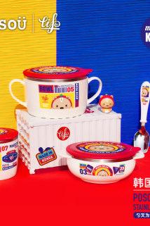 邮多多淘宝集运转运韩国进口TISOU爱婴小铺儿童餐具不锈钢宝宝婴儿碗套装防摔辅食碗