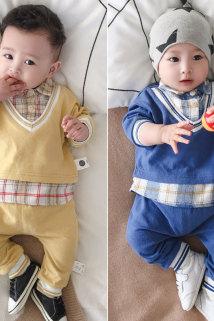 邮多多淘宝集运转运沃康婴儿外出套装秋季男0一2周岁春秋假两件卫衣秋装宝宝洋气套装