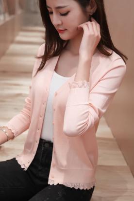 新加坡国内快递到V领短款针织小开衫女士2019春秋韩版新款长袖披肩上衣外穿薄外套时效