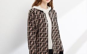 淘宝集运转运到法国TS19350026春秋季休闲针织上衣外套格纹圆领棒球服女士针织衫上衣