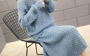 淘宝集运转运到新加坡早秋时尚减龄小香风女士套装2019年秋装新款网红洋气毛衣裙两件套