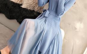 淘宝集运转运到新加坡网红女士两件套蕾丝连衣裙2019年新款初秋针织毛衣套装轻熟秋冬潮