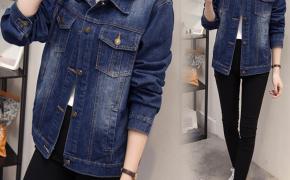 淘宝集运转运到荷兰新款胖mm秋装外套宽松显瘦韩版200斤加肥加大码牛仔外套女士短款