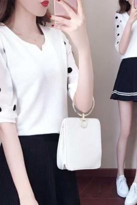 韩国国内快递到雪纺衫女中袖夏装2019新款韩版修身T恤超仙短袖雪纺上衣女士衬衫时效