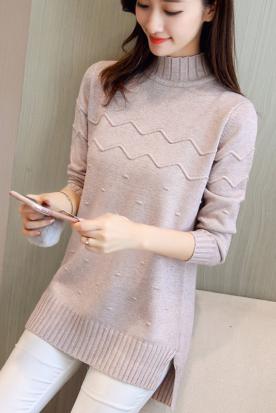 西班牙国内快递到很仙的网红半高领毛衣女士2019新款秋冬装宽松针织衫中长款打底衫时效
