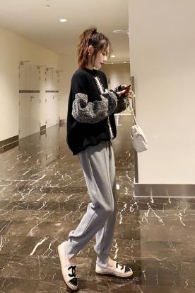 新加坡国内快递到2019年新款秋装女士休闲小个子卫衣+裤子两件套运动套装潮小香风时效